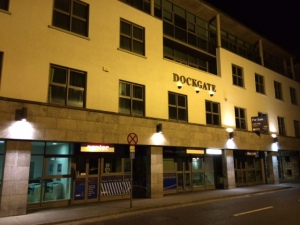 Entrance to the new SmartBear Ireland office at night.