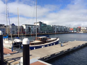 Our bldg are the glass windows in the background. Currently working to befriend the local sailboat owners for future team building activities.