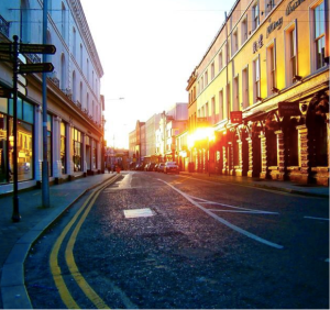 recent sunset in the city centre