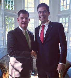 -editor in chief of mlkinire.com, welcoming Boston's Mayor Marty Walsh back to Galway.